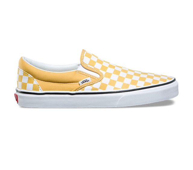 VANS - yellow checker board slip on $50