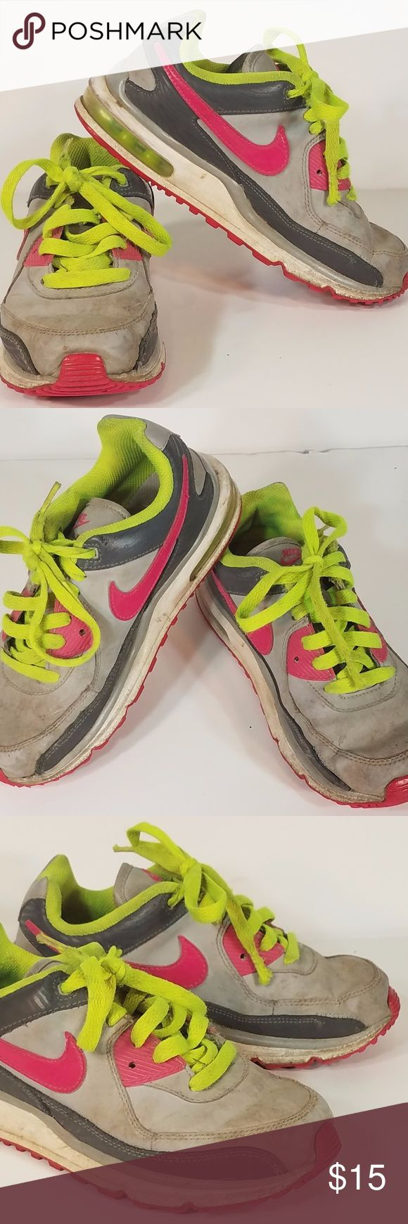 Youth girls gray & pink Nike tennis shoes size 1.5 girls gray, pink and neon green athletic tennis shoes from Nike brand. They are a girls size 1.5 & they are in great/excellent used condition with no real flaws or damage, other than some dirt/staining/discoloration from previous use (see photos). Other than that they are still in great shape and can provide you with a lot of use! They still have plenty of life left in them! They are nice shoes that would be great for casual wear, and I know…