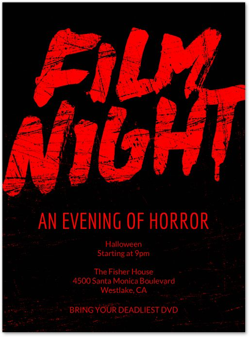 frightening flicks party theme inform your guests in style with this matching party invitation from - Evite Halloween Party