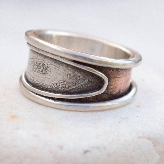 Anello Mens, Mens argento anello, anello di banda larga, rustico anello, regalo per lui, anello unico, fatto a mano mens argento e rame anello, fede nuziale