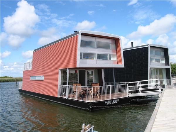 modern architectural house boat.