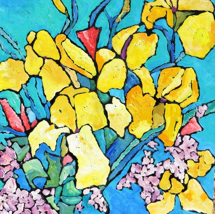 Irises; oil on canvas. 120cm x 120cm