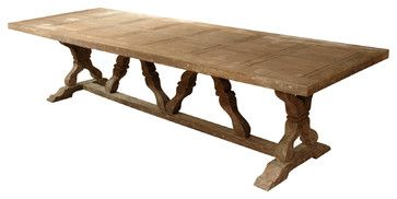 Linley Heavy Distress Farm House 14 Person Trestle Dining Table transitional-dining-tables