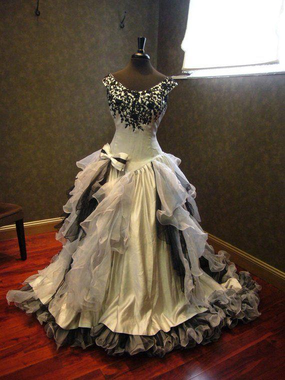 Silver And Black Wedding Dress Gothic Wedding Dress Victorian