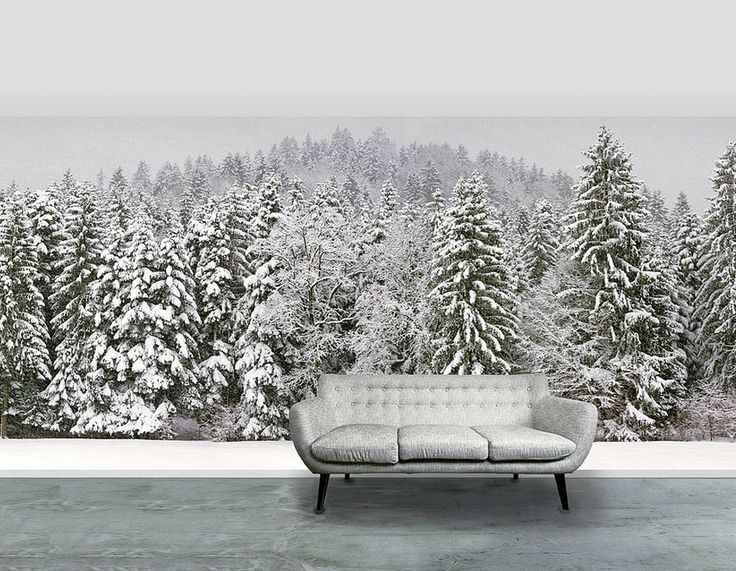 'Snowy Trees' Self Adhesive Wallpaper Mural | Contemporary Wall Stickers