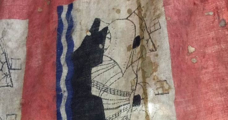 """Tattered old flag spotted in a tiny museum in Deal. Think it had something to do with the """"Little Ships"""" and the D Day landings but whateve..."""