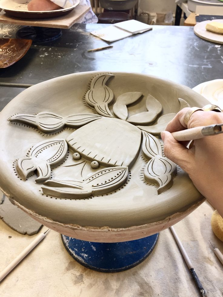 Mr Milly's making a ceramic crab plate