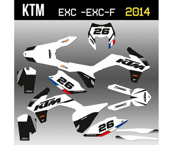 Kit déco KTM EXC et EXC-F 2014  http://www.eight-racing.com/fr/kit-deco-ktm-exc/1439-kit-deco-ktm-v5-blanc.html