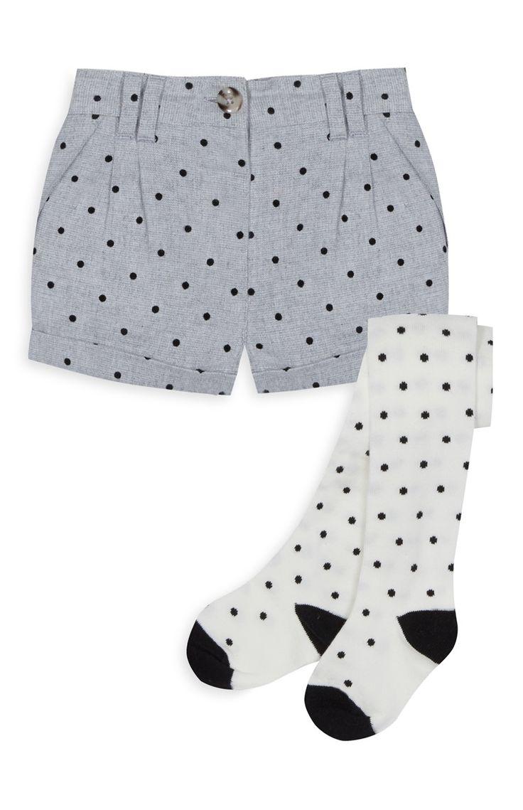 Primark - Conjunto calções e meias menina bolinhas