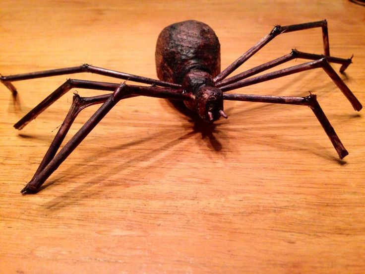 wooden hand sculpted spider by myself