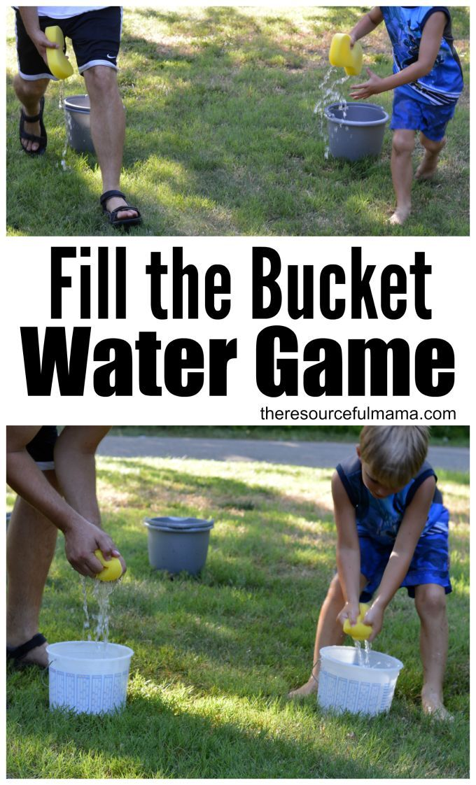 Cool of this summer with this super fun water game. Teams race to fill their bucket. kids|activity|summer|fun|family activity|group activity