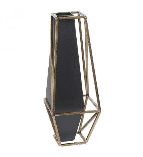 METAL VASE IN GOLD-BLACK COLOR 15X15X40