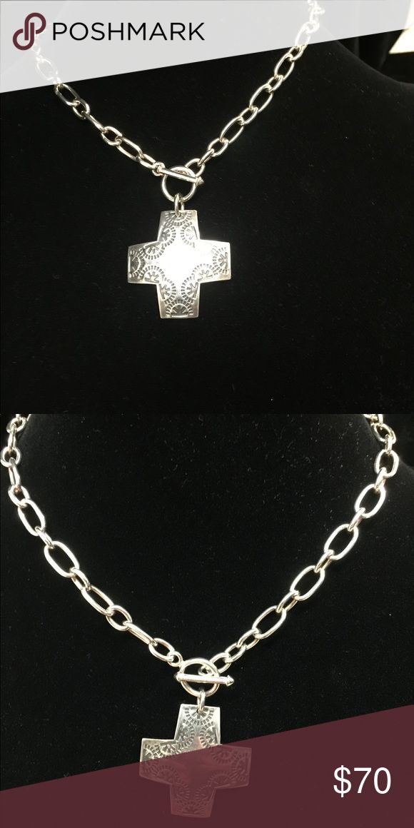 Silpada Designs Cross Pendant Toggle clasp, stamped cross necklace. Sterling silver. Silpada Jewelry Necklaces
