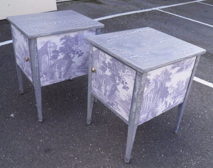 Pair Decorative Vintage Bedside Cabinets Specialist Paint & Decoupage Finish