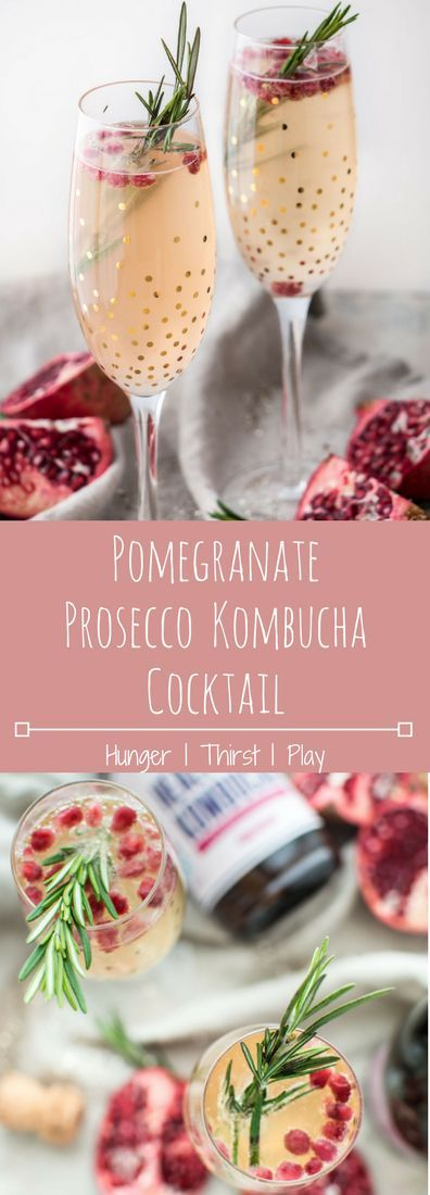 Pomegranate Prosecco Kombucha Cocktail | A touch sweet and a tad tart, perfectly probiotic.  Just what your avocado toast needed.
