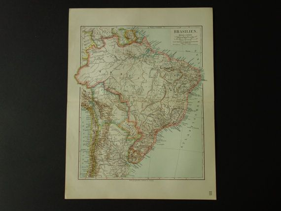BRAZIL old map 1913 detailed antique map of by VintageOldMaps