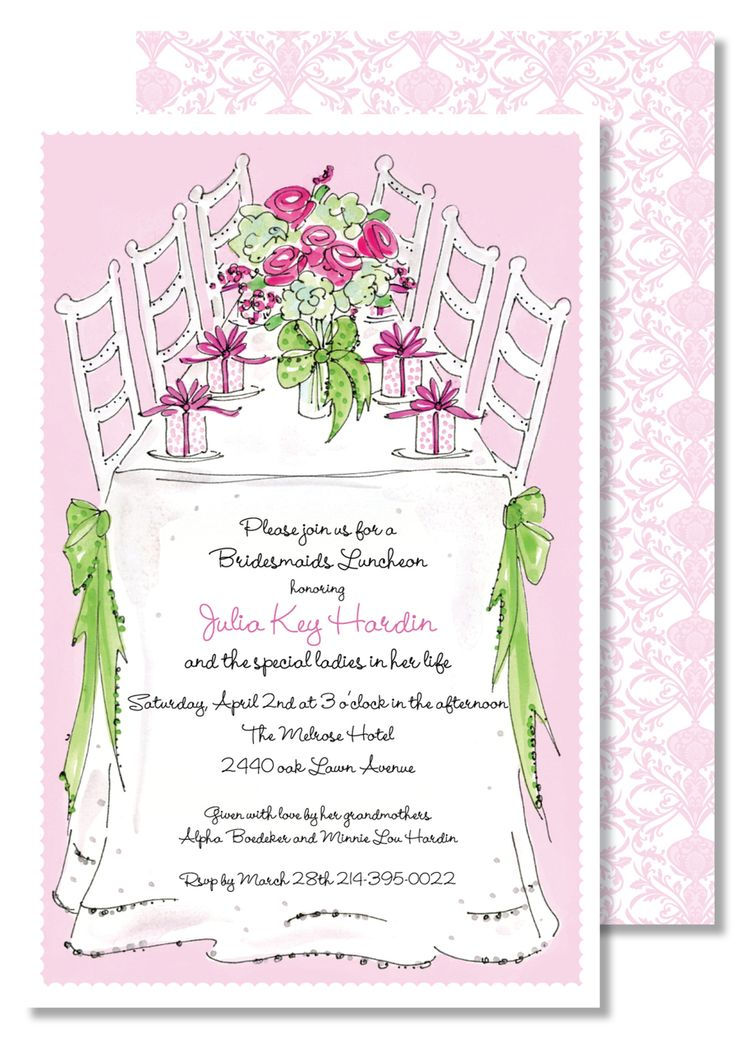 Luncheon Day Bridesmaid Invitations - Creations By Leslie
