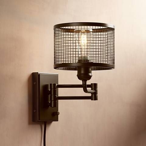Industrial Cage Plug-In Swing Arm Wall Light