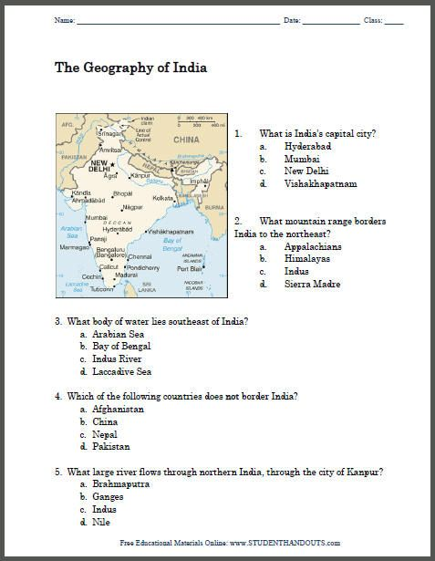 Geography of India Map Worksheet - Free to print (PDF file). Grades 4 and up.