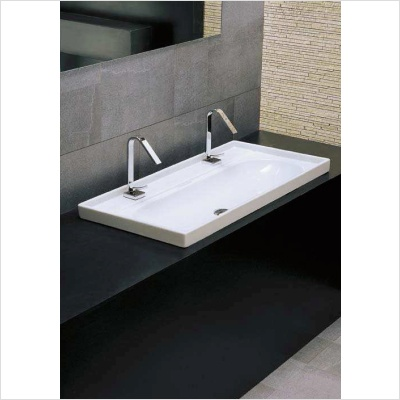 Trough Vessel Sink With Single Drain