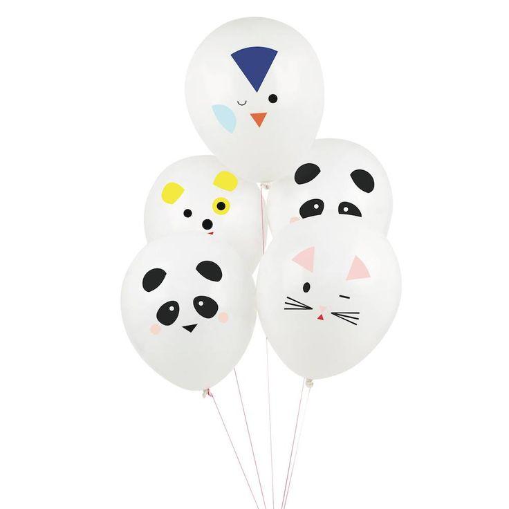 Beestenboel (Mini Animals) Ballonnen, 5 stuks | Hieppp - Hieppp  Feestartikelen panda, hond, penguin en poes.