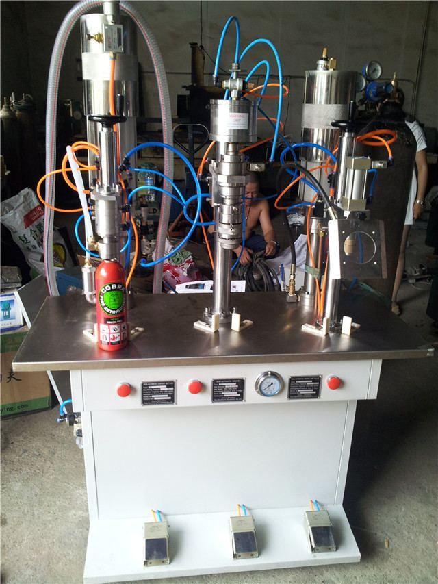 PU-Foam semi automatic aerosol filling machine     More: https://www.aerosolmachinery.com/sale/pu-foam-semi-automatic-aerosol-filling-machine.html