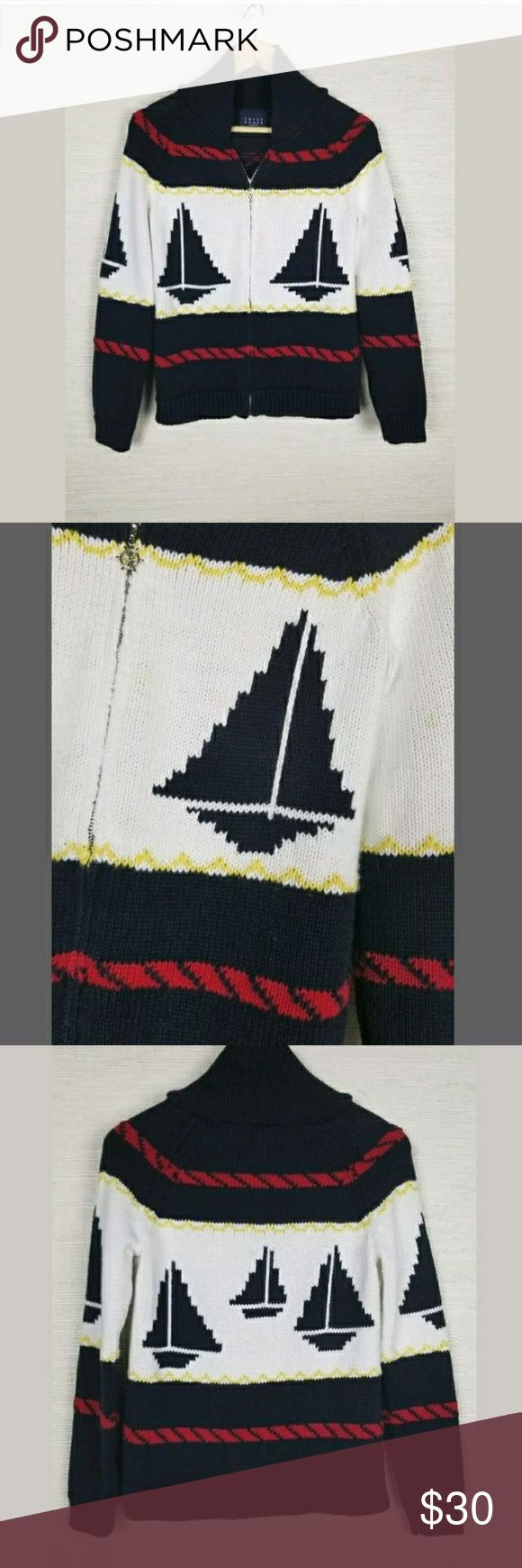 Crazy Horse Liz Claiborne Nautical Zip Up sweater Women's Crazy Horse Liz Claiborne Nautical Zip Up Boat Sweater Euc Size M  Light Stain on left chest area(see photos) crazy horse Liz claiborne Sweaters