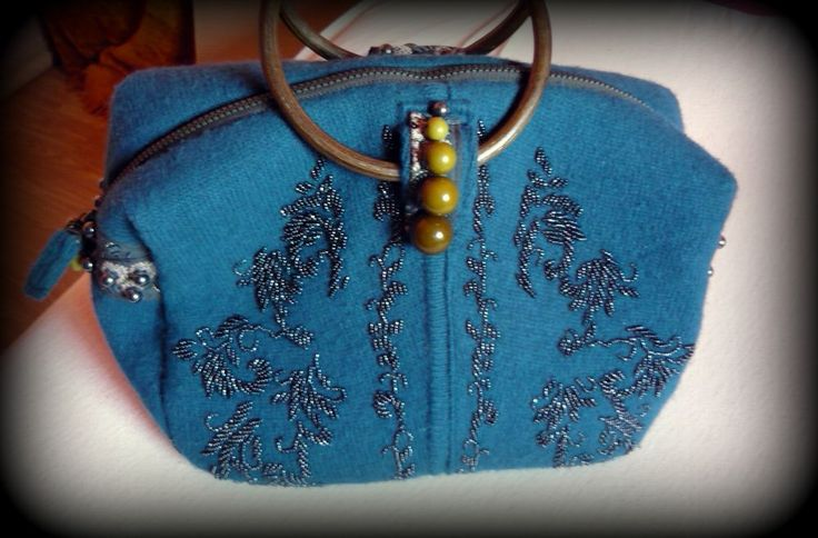 Handmade by Judy Majoros-  Wool Knit handbag with wooden handles. Beaded handbag. Recycled bag