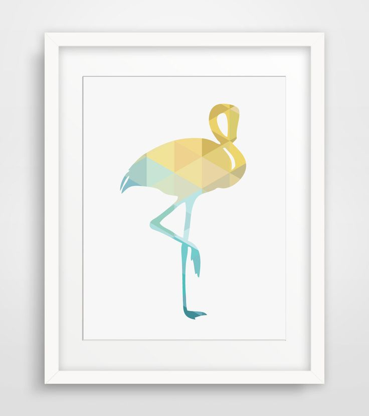 Yellow Decor Flamingo Decor Turquoise Art by MelindaWoodDesigns
