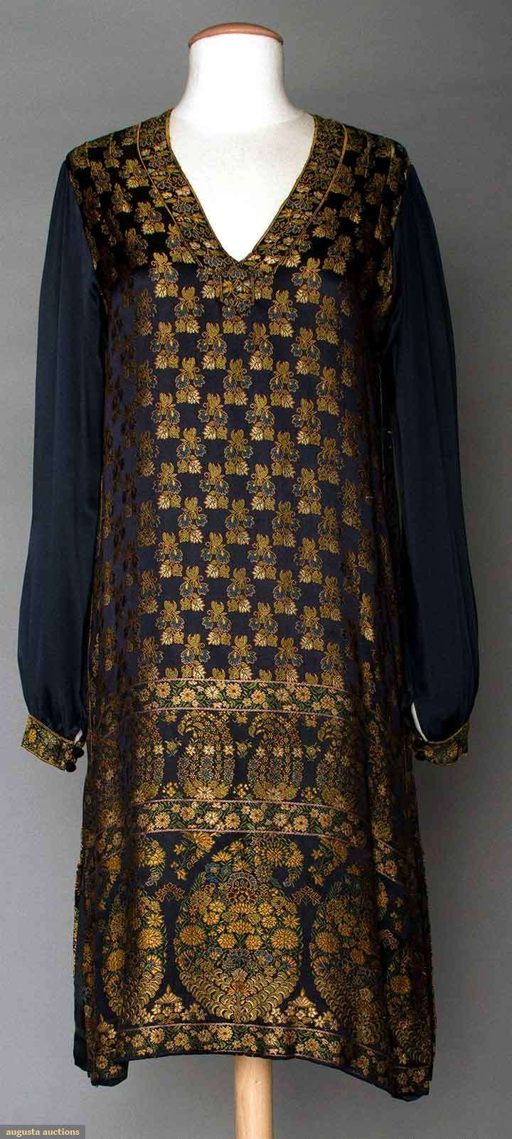 "SILK BROCADE DAY DRESS, 1920s  Navy satin ground w/ Persian inspired boteh & small flower pattern in gold & green, V neck, B "", H "", L "", excellent."