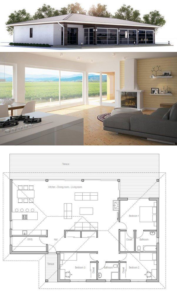 Small house plan in modern architecture. Open planning, three bedrooms, two bathrooms