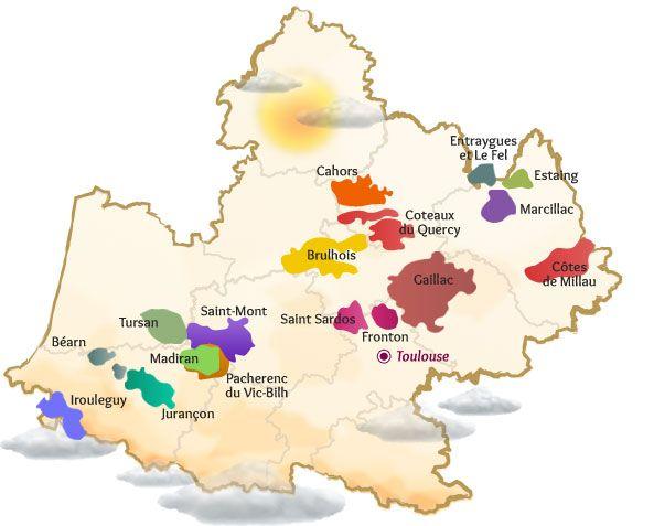 Carte des AOP/AOC du Sud Ouest
