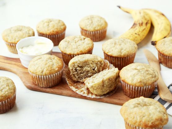 These are the only banana muffins I make now. I add chocolate chips to my batter and triple the recipe. These freeze great. I got this recipe from an old (1980s) Canandian cookbook called Muffin Mania . (Prep time is a guess.)