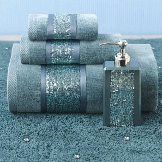 Croscill sequin shimmer teal bath collection color for Teal coloured bathroom accessories