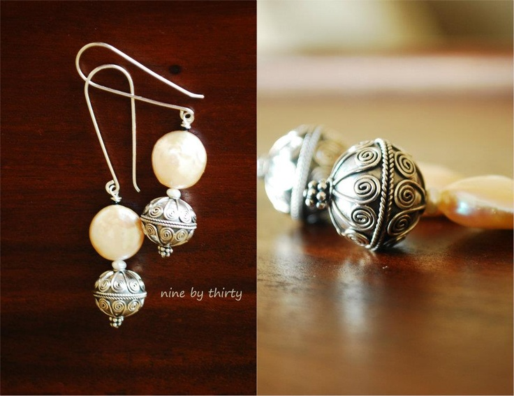 Coin pearl and Balenese silver bead. Via www.facebook.com/ninebythirty