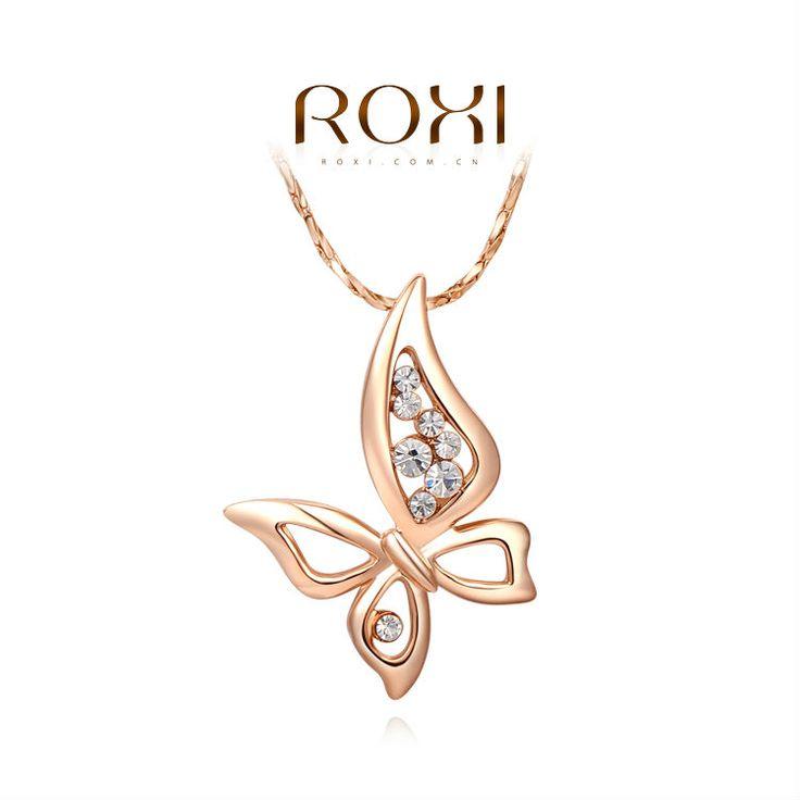 Luxe ketting met Vlinder Hander met Oostenrijke kristallen Rose Verguld