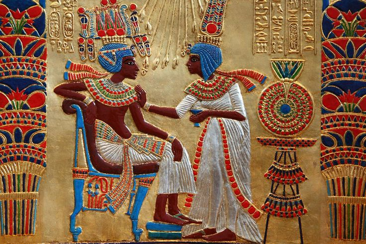A detail of the back of the golden throne of Tutankhamun, XIV century BC. King Tutankhamun and his wife Anhesenamon, who was a queen of the 18th Dynasty of Egypt. Born as Ankhesenpaaten, she was the third of six known daughters of the Egyptian Pharaoh Akhenaten and his Great Royal Wife Nefertiti and became the Great Royal Wife of her half-brother Tutankhamun.