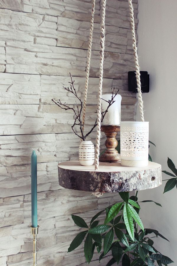 {DIY} tree disc hanging shelf (s'Bastelkistle) – #DiyHomeDecor
