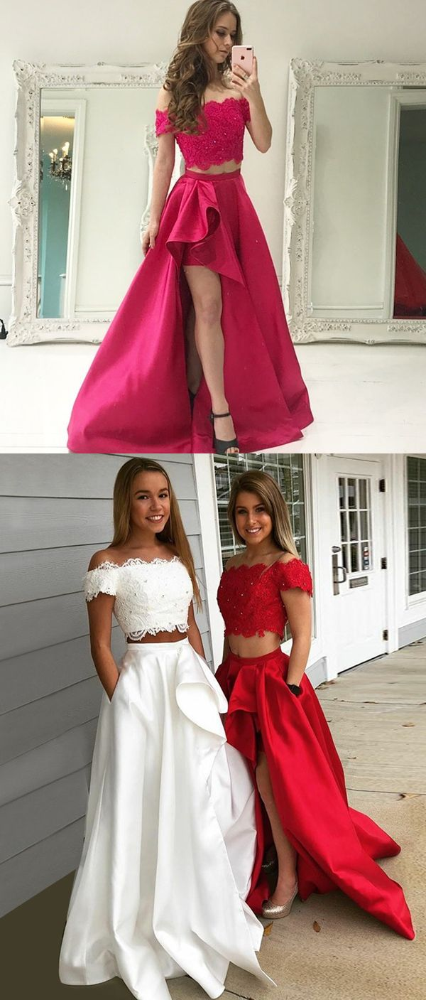 f3ac242380d5 Two Piece Off-the-Shoulder Short Sleeves White Prom Dress with Lace  Pockets, modest two piece off the shoulder red long prom dresses, unique  white evening ...
