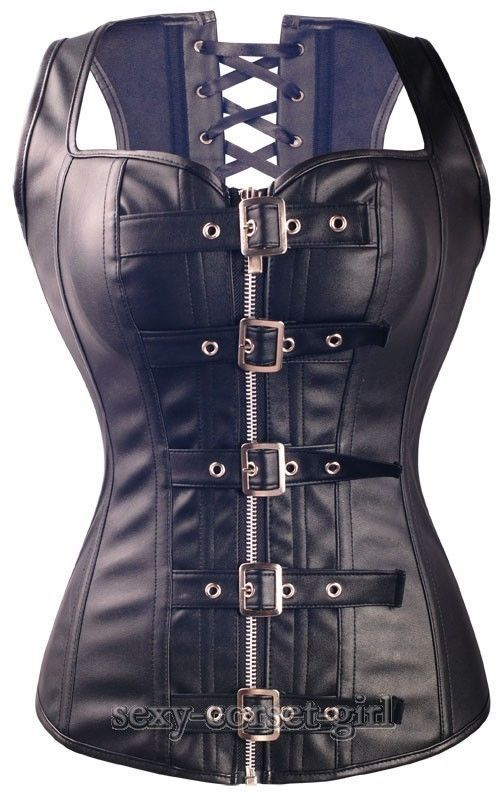 Sexy Black Faux Leather Bustier Gothic Steampunk Zipper Corset Size L Rockroll