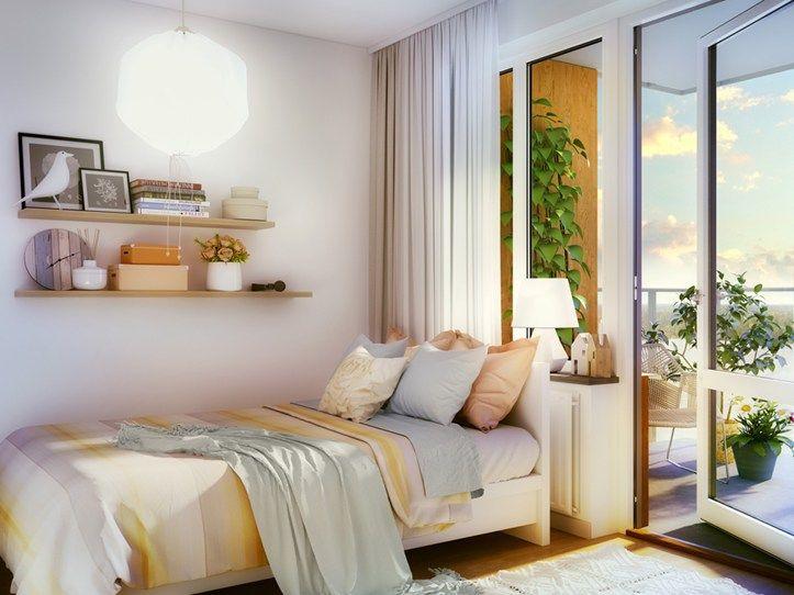Bedroom with balcony Brf Blicken in Haninge.