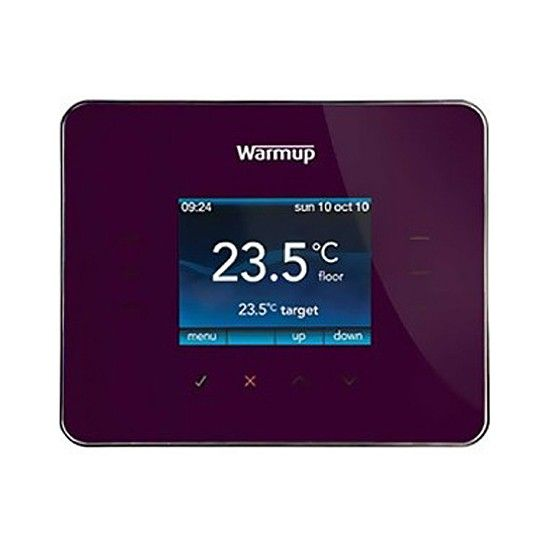 Our Warmup Thermostats are available in some great colours.  The WarmUp 3iE thermostat is the worlds most advanced energy monitoring thermostat, made exclusively by WarmUp. It has a full colour screen with touchscreen technology and has an easy to use interface, with clear graphics and a variety of screen themes to match your personal style.