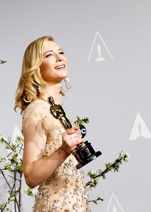 "Cate Blanchett poses in the press room with the award for Best Actress in a Leading Role for ""Blue Jasmine"" during the 86th Annual Academy ..."