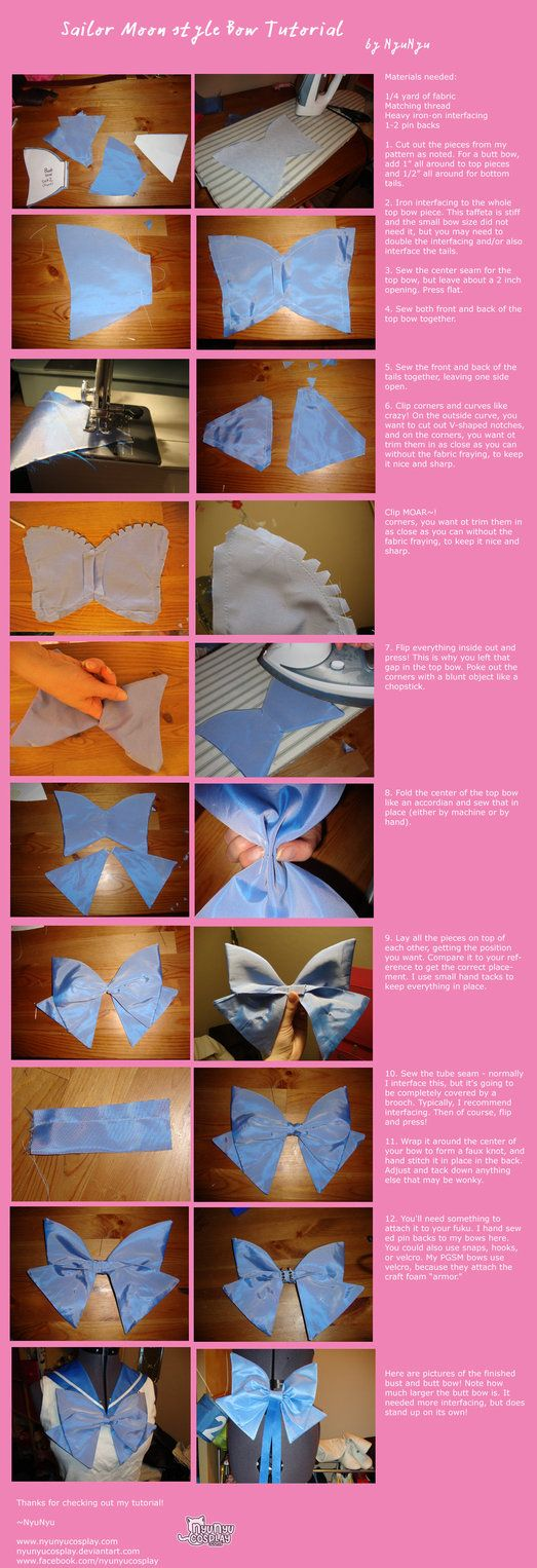 This is the method I used to make my bows for Eternal Sailor Mercury, and similar to what I use for most of my bows, especially the very stylized Sailor Moon manga bows or any bows where rectangles...