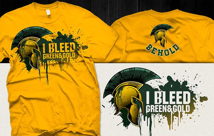 """I Bleed Green & Gold"" t-shirt design by DorarpolHendra"