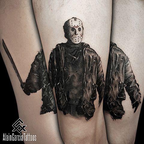 Throwback Friday the 13th with this small Jason Voorhees on Jud's thigh. #friday13th #fridaythe13th #friday13thtattoo #jasonvoorhees #jasonmask #blackandgrey #realistic #tattoo #sydney #sydneytattoo