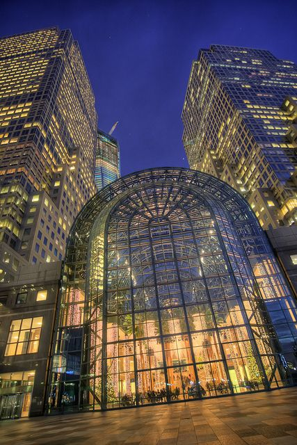 Winter Garden Atrium - Battery City Park, opposite the World Trade Center. Damaged and rebuilt after 9/11, NYC