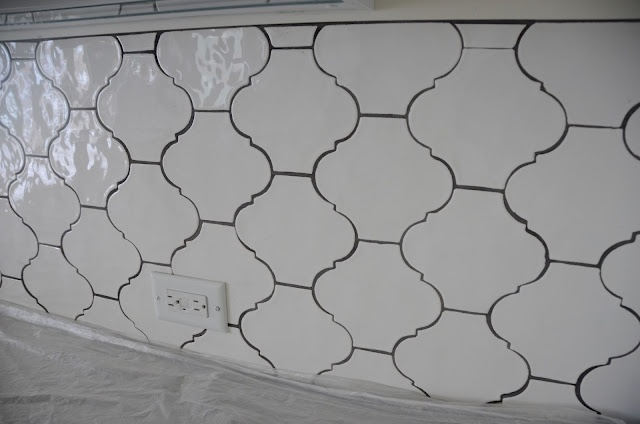beautiful Arabesque tile from Walker Zangerwith slate gray grout.