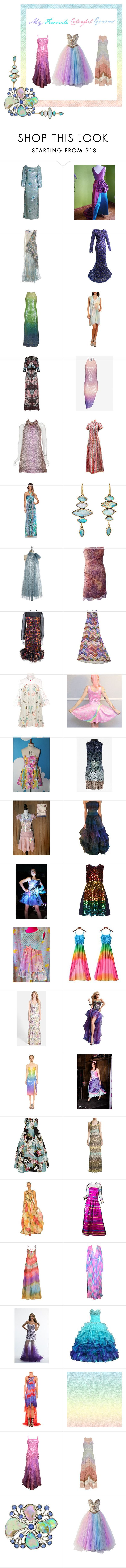 """My Favorite - Colorful Gowns & Coctail Dresses.."" by misshollowpointslug ❤ liked on Polyvore featuring мода, Rodarte, Oscar de la Renta, Halston, Maison Margiela, Biyan, Cushnie Et Ochs, Pierre Cardin, Jean Patou и Sky"