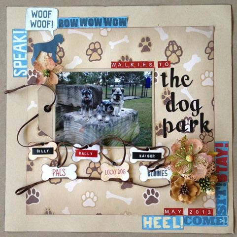 The Dog Park page created with Karen Foster, Dog collection by Barb for My Scrappin' Shop.